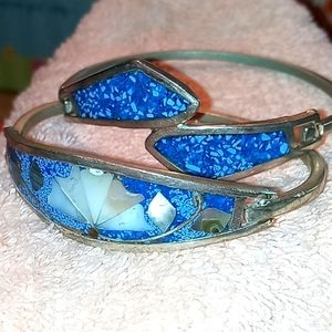 Bundle of Two Mexican Silver & Turquoise Bracelets